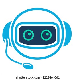 Chatbot. Robo advisor (robo adviser). Chat bot robot like assistant. Concept of digital advisor avatar to help the customer. Gravatar. Robotic operator with headphones and microphone. Vector icon.