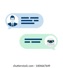 Chatbot robot concept. Dialog help service. User ask question and bot give answer. Vector illustration isolated on white background