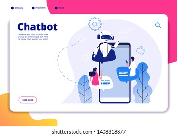 Chatbot. Robotics chatterbot smart robotical conversetion ai bot online talking helping chatbots answering phone vector landing page