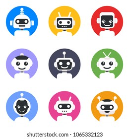 Chatbot symbol, logo template. Robot icon set. Bot sign design. Modern vector flat style cartoon character illustration. Isolated on white