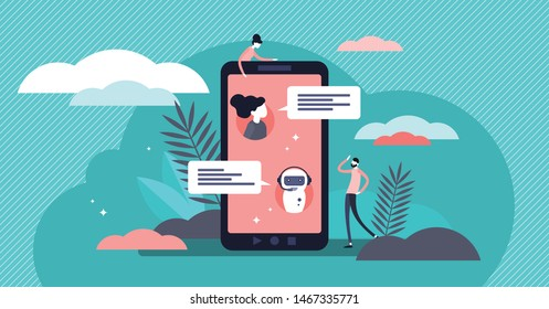 Chatbot vector illustration. Flat tiny virtual smartphone conversation persons concept. AI robot assistant for user correspondence. Simulated question or answer service. Artificial software discussion