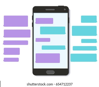 Chatbot whatsapp chat bot text message bubble template snapchat 3D flat vector mobile interface snapstick illustration