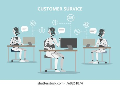 Chatbots customer service. Robots with headset answering questions.