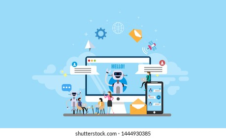 Chatbots Tiny People Character Concept Vector Illustration, Suitable For Wallpaper, Banner, Background, Card, Book Illustration, Web Landing Page, and Other Related Creative