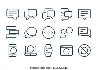 Chatbox and message line icons. Vector icon set.