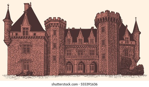 Chateau. Hand drawn engraving. Vector vintage illustration. Isolated on color background. 8 EPS