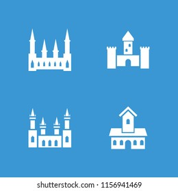 Chateau icon. collection of 4 chateau filled icons such as . editable chateau icons for web and mobile.