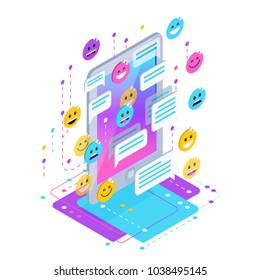 Chating. Isometric chat concept with mobile phone, emoji icons, message bubbles. Vector illustration.