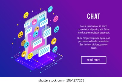 Chating. Isometric chat concept with mobile phone, emoji icons, message bubbles. Trendy isometric background.Vector illustration.