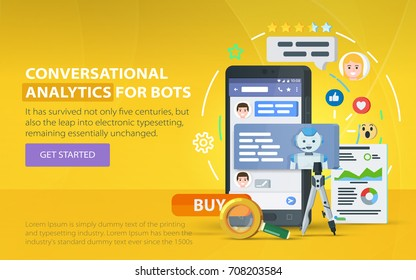 Chating and messaging concept. Chatbot and future marketing analytics. Messenger window. Dialog box of mobile phone. Chatbot business concept. Smartphone on a orange background. Vector illustration