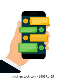 Chating and messaging concept. Hand holding smartphone isolated on white background. Social network concept. Vector illustration. Flat design.