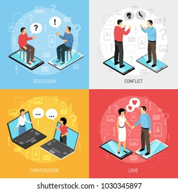 Chatrooms online 4 isometric icons concept with dating discussions arguing solving problems resolving conflicts isolated vector illustration