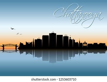 Chattanooga skyline - Tennessee, United States of America, USA - vector illustration