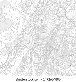 Chattanooga, Tennessee, USA, bright outlined vector map with bigger and minor roads and steets created for infographic backgrounds.