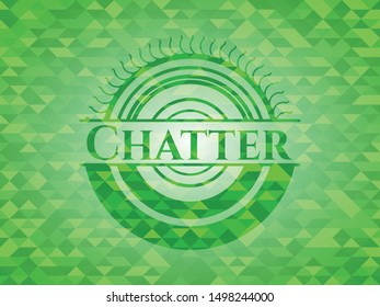Chatter realistic green mosaic emblem. Vector Illustration. Detailed.