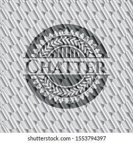 Chatter silver color badge. Scales pattern. Vector Illustration. Detailed.
