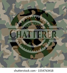 Chatterer on camo pattern. Vector Illustration. Detailed.