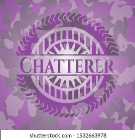 Chatterer pink camo emblem. Vector Illustration. Detailed.