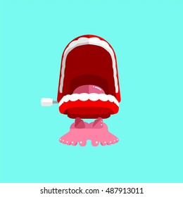Chattering Teeth Retro Toy Vector Graphic Illustration