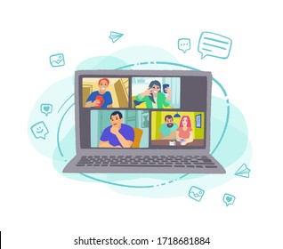 Chatting with friends or family online. Laptop on modern abstract background. Virtual party, meet up, video conference. People meeting online together and have fun. Vector flat style illustration.