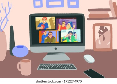 Chatting with friends or family online. Virtual party, meet up, video conference. Stay home, stay safe. People meeting online together and have fun. Vector flat style hand drawn illustration.