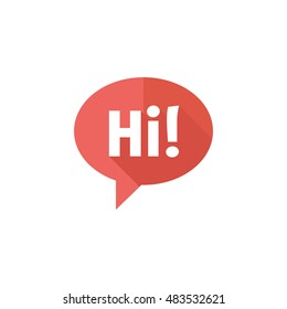 Chatting icon in flat color style. Text bubbles communication business talking people hello hi greeting
