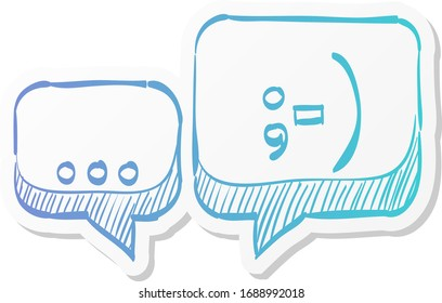 Chatting icon in sticker color style. Text bubbles communication business talking people hello hi greeting