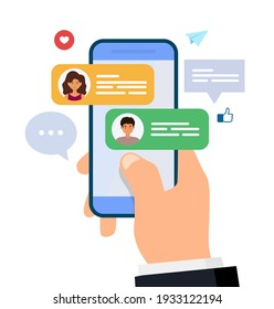 Chatting and messaging. Man and woman chatting on smartphone. hand holding mobile phone with text messages. Flat vector illustration. - Shutterstock ID 1933122194