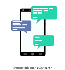Chatting and messaging smartphone online flat. Web communication device isolated on white. Color flat simple, vector illustration