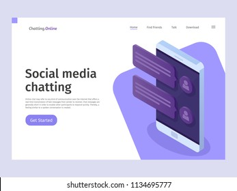 Chatting and messaging social networking concept. Landing page template. Vector 3d isometric illustration.