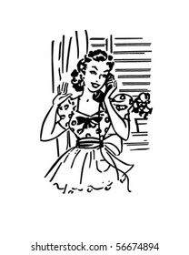 Chatting On The Phone - Retro Clip Art