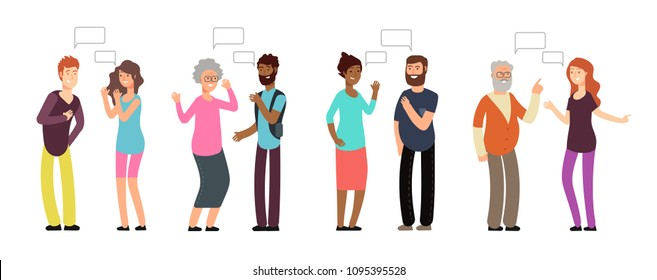 Chatting persons. People group in conversation. Men and women discussing with thinking bubble. Vector communication concept. Illustration of speech debate, woman and man together communicate
