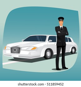 Chauffeur, driver of luxury car, such as limousine or lincoln, standing, dressed in black suit or tuxedo, dress shirt, tie, black leather gloves and hat. Vector illustration