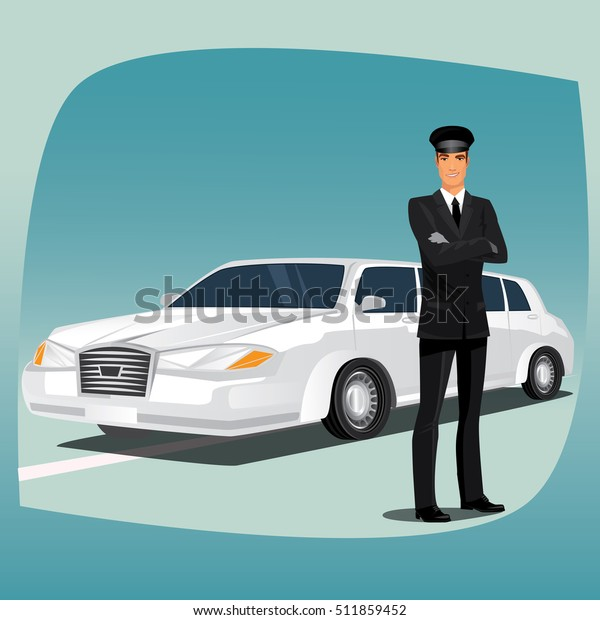 Chauffeur Driver Luxury Car Such Limousine Stock Vector