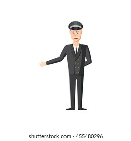 Chauffeur icon in cartoon style on a white background
