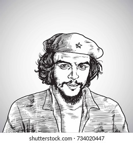 Che Guevara Vector Portrait Drawing. October 14, 2017