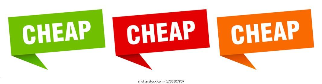 cheap banner. cheap speech bubble label set
