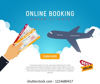 Cheap flight travel vector banner best seller . Online booking airline tickets background concept. Win two airline tickets to vacation. Air travel and Business trip concept.