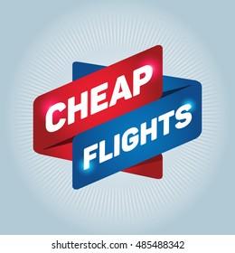 CHEAP FLIGHTS arrow tag sign.