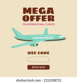 Cheap flights. Flight concept. Offer flights. Inscription - mega offer. Vector cartoon.