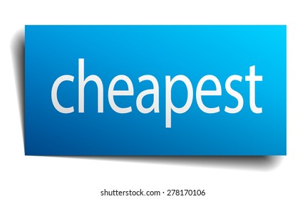 cheapest blue paper sign on white background