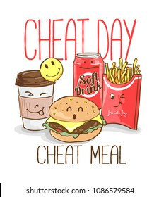 Cheat day slogan with foods illustration