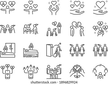 Cheating and love affair line icon set. Included the icons as relationship, complicated, divorce, engaged, and more.