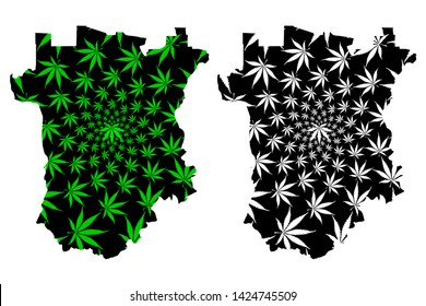 Chechnya (Russia, Subjects of the Russian Federation, Republics of Russia) map is designed cannabis leaf green and black, Chechen Republic map made of marijuana (marihuana,THC) foliage,