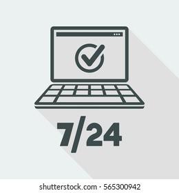 Check 7/24 services - Vector web icon