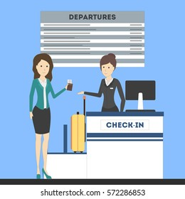 Check in airport with lady on counter and female passenger with luggage. Departures board.