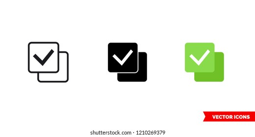 Check all icon of 3 types: color, black and white, outline. Isolated vector sign symbol.