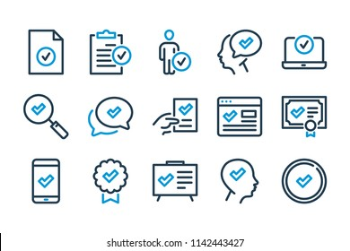 Check and approve related line icon set. Quality and compliance vector signs.