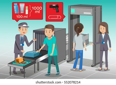 Check baggage before boarding. Employees check the completeness of the airport. The security services