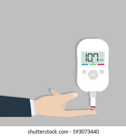 Check blood sugar levels. White modern blood glucose meter. A drop of blood on your finger.